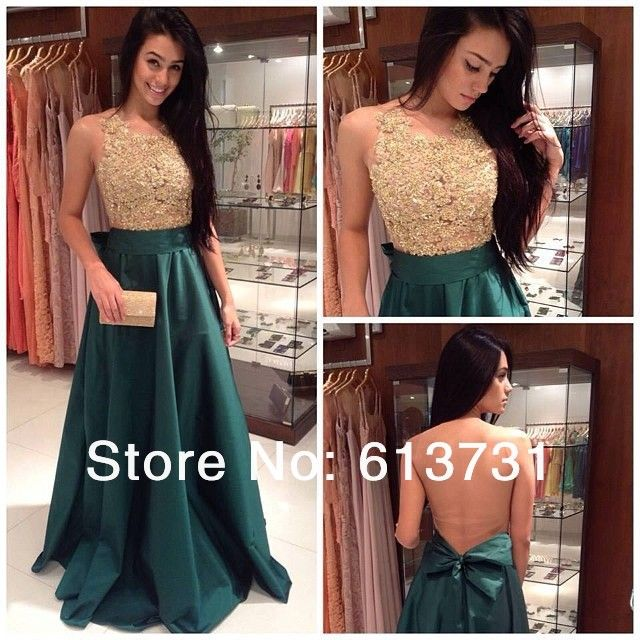 2014 New Fashion High Neck A Line Dark Green Evening Dresses With Gold Lace Top Taffeta Prom Gown Long www.aliexpress.com/store/613731