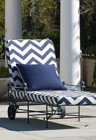 Chevron pillowed chaise longue the heveningham for Blue and white striped chaise lounge cushions