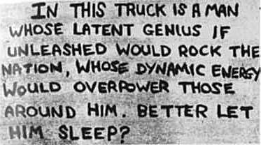 Note written by Peter Sutcliffe (The Yorkshire Ripper), which he  displayed in the window of his lorry.