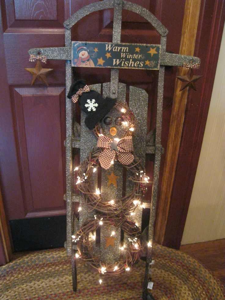Primitive | Sled..with grapevine wreath snowman~~ | A Very Primitive Christmas