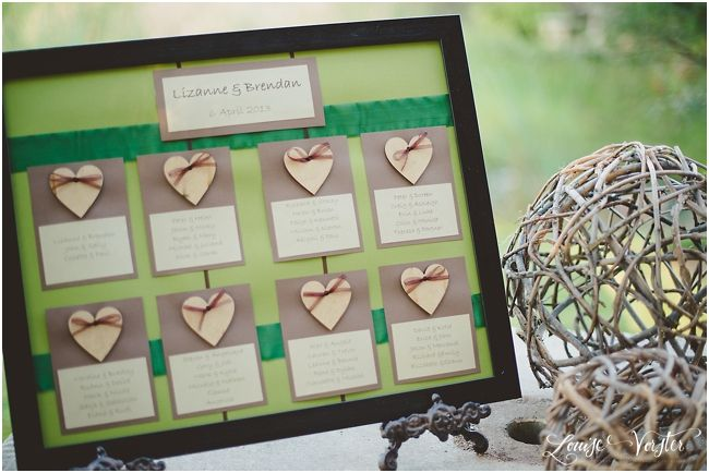 Green and Brown table seating plan. The table numbers are written in gold on the wooden hearts. The table seating plan was placed in a wooden frame and seated on a rustic frame holder.