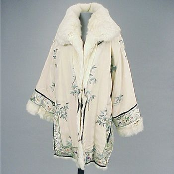 Fur Lined Embroidered Jacket  Chinese for the Western Market, 1920s