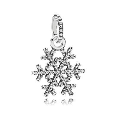 Snowflake silver pendant with 61 sparkling cubic zirconia. Equally stunning as a necklace pendant or worn on a bracelet. $55 #PANDORA #ChristmasCollection