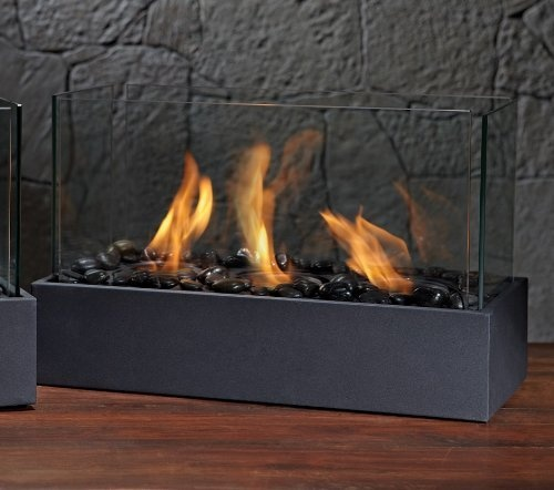 Use indoors during the winter or outdoors on cool summer evenings with this table top fireplace.  Fuel is availbale for $8 a jar - last about 3 hrs.