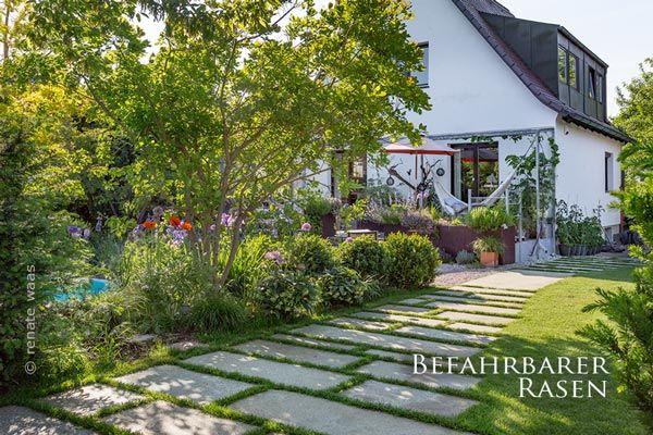 Gartenplanung, Gartendesign und Gartengestaltung: Befahrbarer Rasen - Schotterrasen