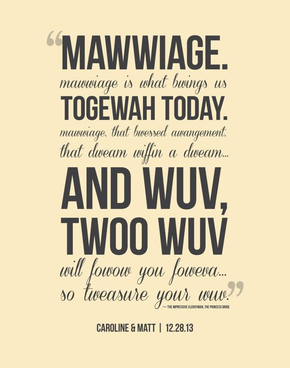 Twoo Wuv Clergyman Quote from The Princess Bride Typographic Print, Wedding Gift for Couple on Etsy, $20.00