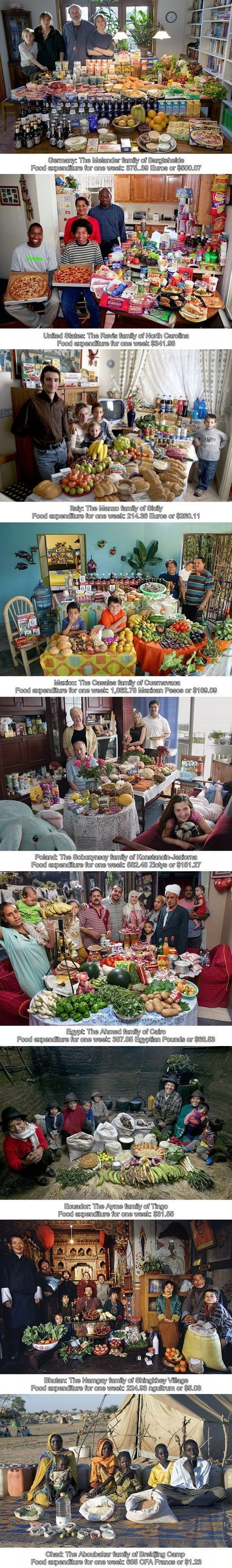 Ever wonder how much the average family consumes weekly? How about from different countries? (Photo-Essay)