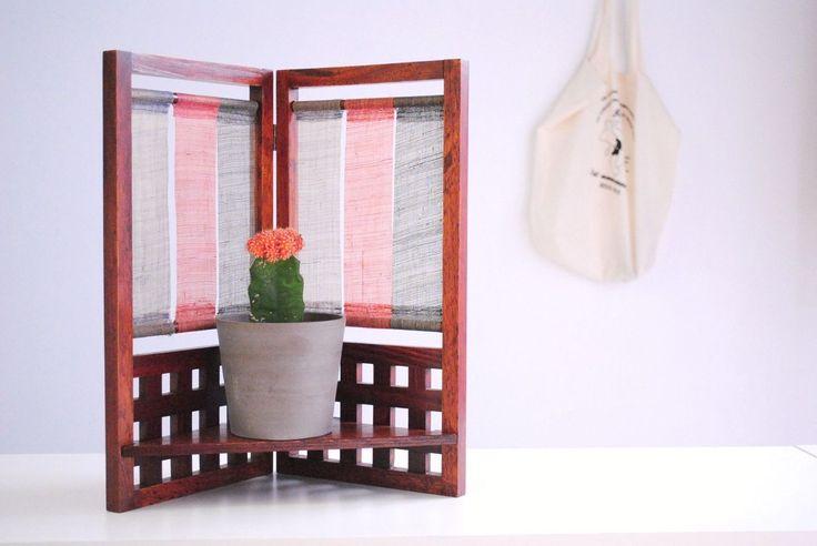 Japanese antique style natural wooden display case like vintage wall shelf hemp