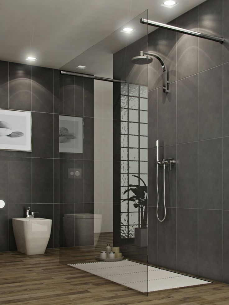 Bathroom: Bathroom With Modern Style Glass Shower As Well As Varnished  Wooden Floor And Grey