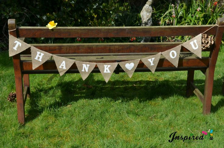 Hessian Fabric Bunting Banner Rustic Shabby Chic Wedding Thank you White Heart