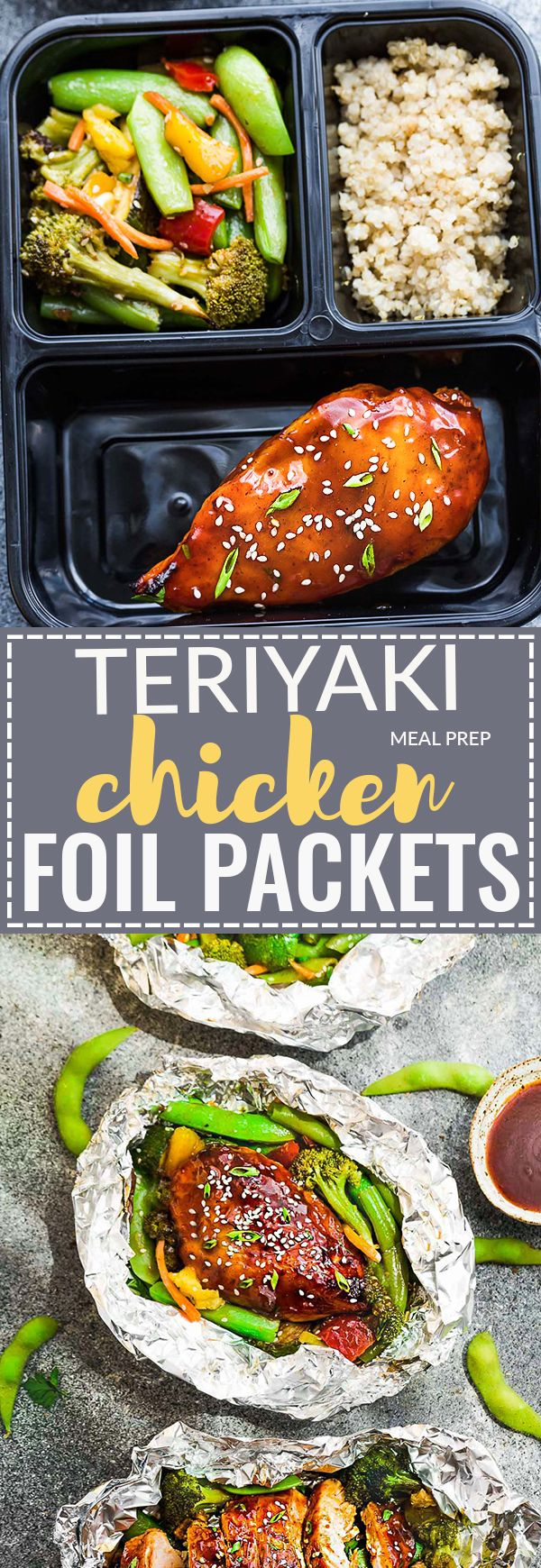 This recipe for Teriyaki Chicken Foil Packets with Vegetables (Meal Prep) is the perfect easy campfire or weekly dinner for summer. A complete meal with practically no clean up and full of your favorite sweet and savory Asian-inspired meal with tender chicken, edamame, broccoli, pineapple and red bell pepper. Make a batch for Sunday meal prep and pack it up for your lunchbox or lunch bowls. Foil packets are great for camping or busy weeknights.