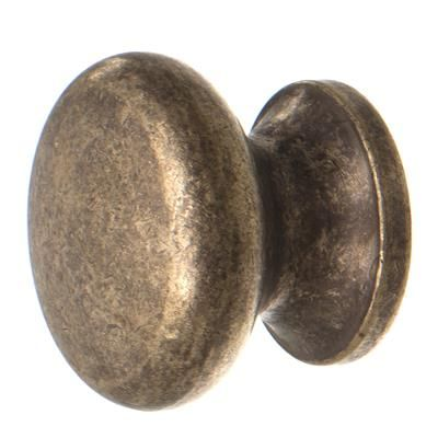 Small Napier Cupboard Knob in Antiqued Brass