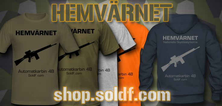 """T-shirts and hoodie The National Home Guard, known as """"Hemvärnet"""" and their issued weapon Assault rifle 4B, Automatkarbin 4 (Ak 4B). Featuring an Aimpoint red dot sight. Tshirts available at http://shop.soldf.com #hemvärnet #ak4 #ak4b"""
