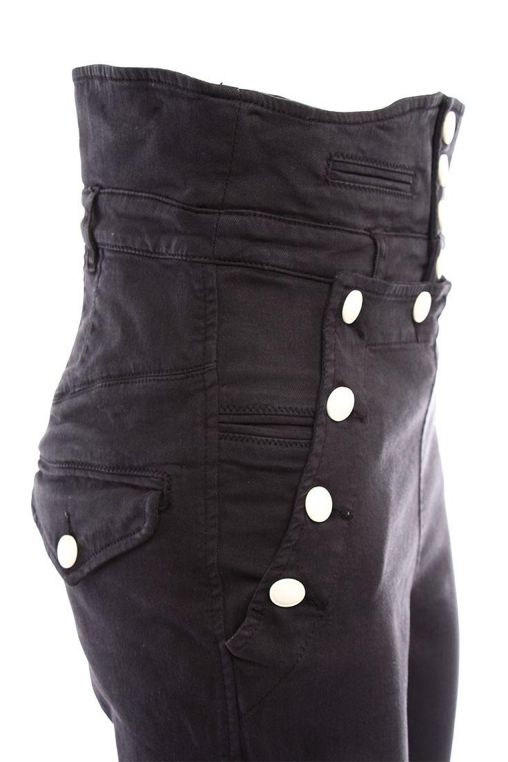 Visualizza il prodotto: pantaloni Nepos con chiusura tipo marinaio  ,colore nero  ,chiusura con bottoni  ,due tasche a filetto sul davanti, due tasche con patta sul dietro  ,passanti per cintura  ,vita alta  ,90%cotone 8%elastomultiestere 2%elastano