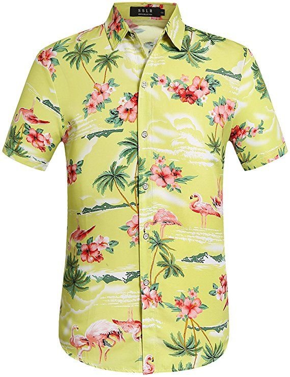 246ab134d SSLR Men's Flowers Flamingos Casual Aloha Hawaiian Shirt (Small, Green  Yellow)