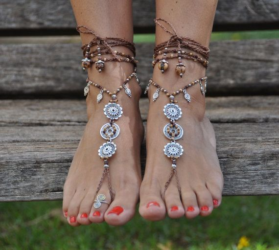 EARTH MANDALA barefoot SANDALS foot jewelry hippie sandals toe ring anklet beaded crochet barefoot tribal sandal festival