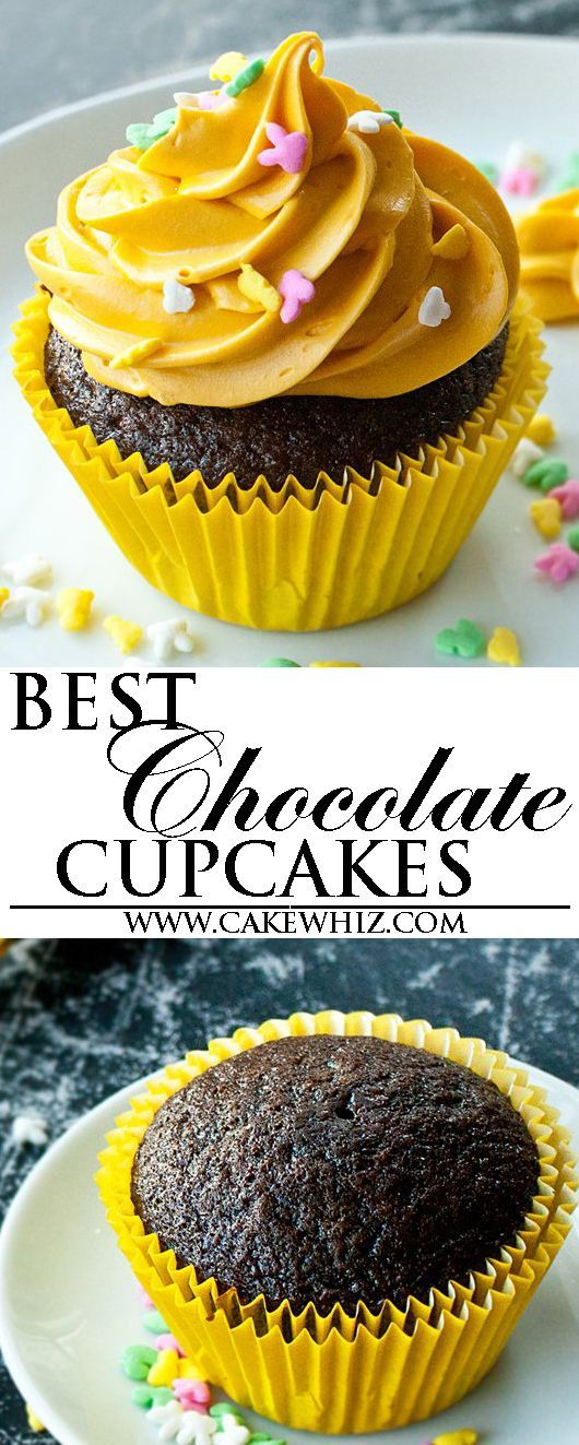 This is the best easy CHOCOLATE CUPCAKES recipe from scratch. These homemade chocolate cupcakes are super soft and moist and packed with rich chocolate flavor! From cakewhiz.com