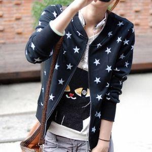 2013 Nouvelles Femmes Coréennes Girl Lady Casual étoiles Impression Hoodie Cardigan à Capuche Tops Blouse