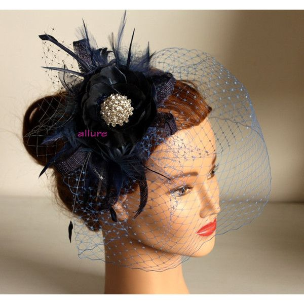 Fabulous BIRDCAGE VEIL , navy blue wedding headpiece. Blue fascinator for bridesmaid. Amazing wedding hair flower. ($142) found on Polyvore