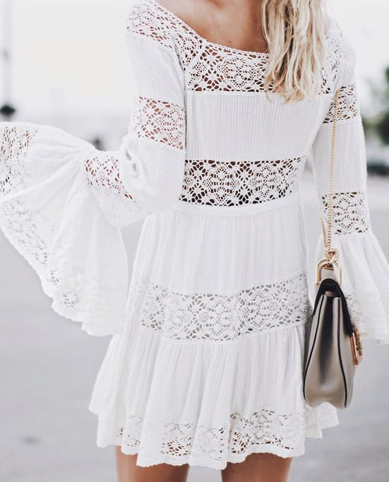 Bell sleeve boho dress