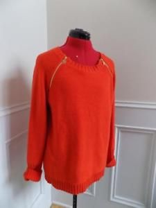 Tangerine Pullover Sweater Zipper Raglan Sleeves Anne Klein Size XL Logo Zippers  | eBay