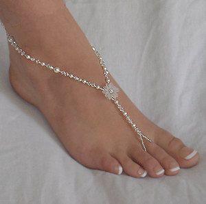 Rhinestone Flower Beach Wedding Barefoot Sandals inspiration