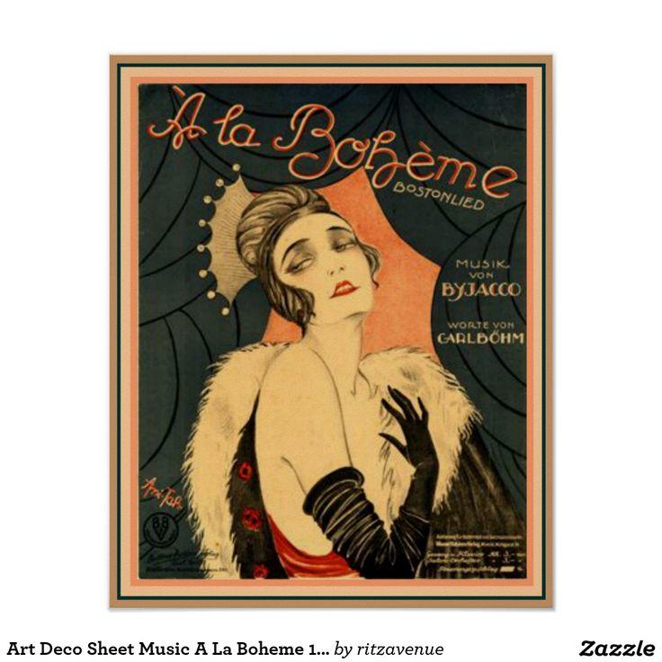 Art Deco Sheet Music A La Boheme 16 x 20 Poster   $15.00