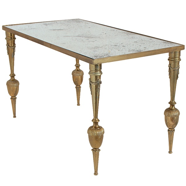 Vintage Neoclassic Brass Coffee Table
