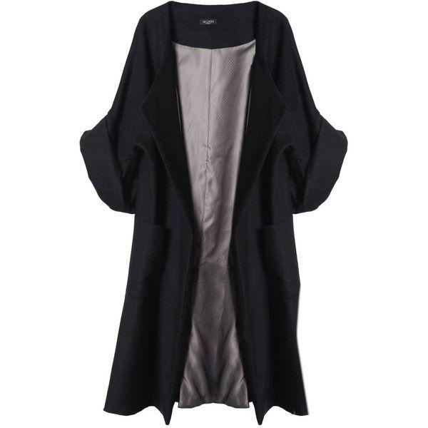 Merci Me London - Calla Coat Black (4.890 DKK) ❤ liked on Polyvore featuring outerwear, coats, jackets, coats & jackets, tops, wool coat, oversized wool coat, black coat, black wool coat and black oversized coat