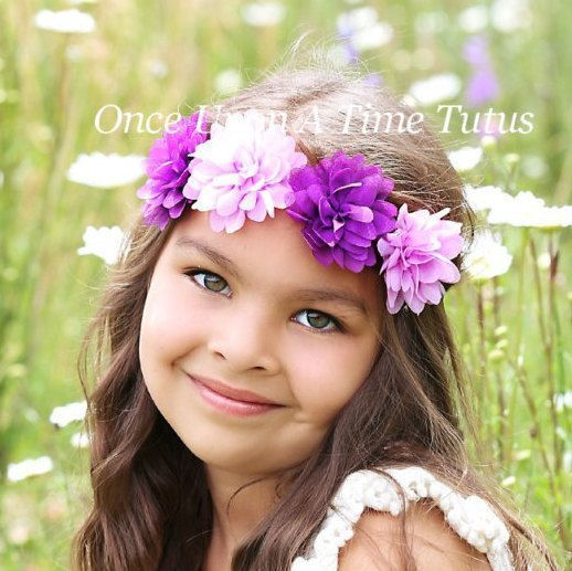 Purple Flower Crown Halo Headband Hippie Chick Halo Photo Prop Hairbow Toddler Child Girls Hair Bow Accessory Boho Summer Skinny Band