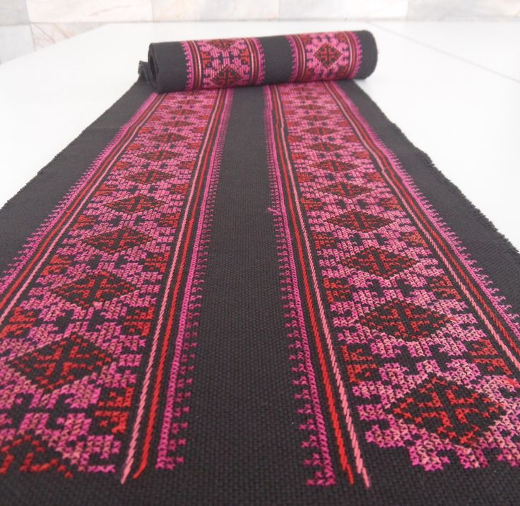 Black hand embroidered Hmong fabric, very fine needlework in pinks