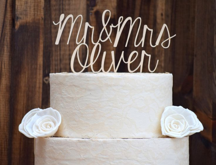 Personalized Wooden Mr. & Mrs. Cake Topper