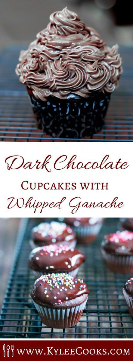 Dark chocolate cupcakes are the perfect partner to this decadent and rich whipped ganache. Easy to make, and delicious, chocolate lovers will enjoy this! #choctoberfest