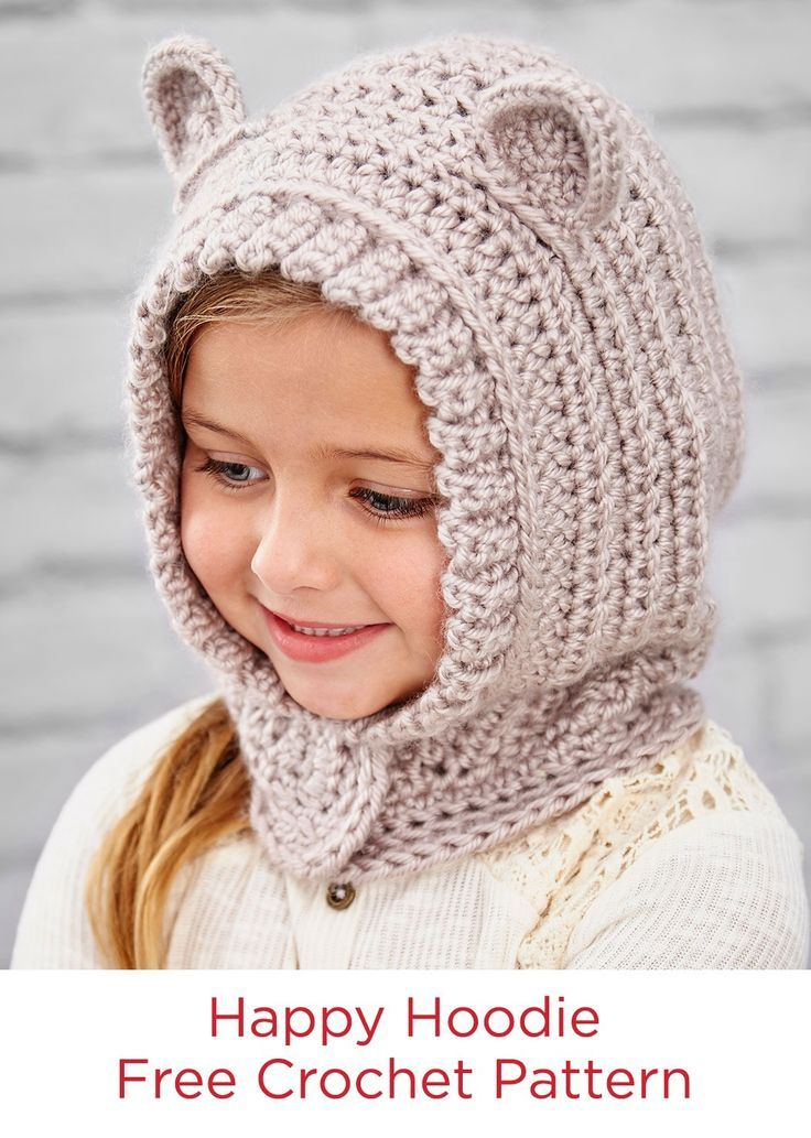 Happy Hoodie Free Crochet Pattern in Red Heart Yarns -- Kids will love wearing this crocheted hood style hat. The ears make it extra cute and perfect for playtime imagination. A hidden snap makes it easy to put on, but harder to lose at recess!