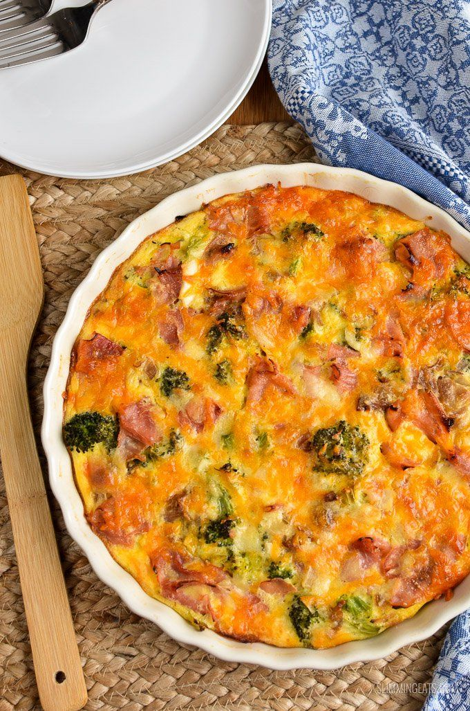 This Syn Free Crustless Ham and Broccoli Quiche tastes so good you won't miss the crust. Delicious served with a side salad.