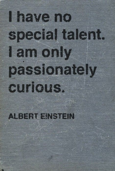 I have no special talent, I am only passionately curious ~ Albert Einstein