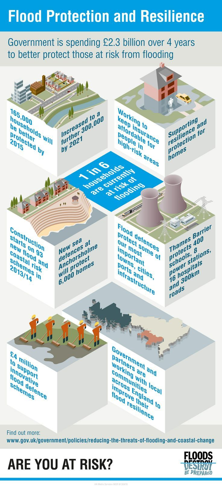 Flooding infographic created for Defra UK. isometric