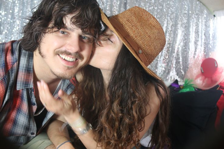 lovely couple inside the vw photo booth bus in toronto canada