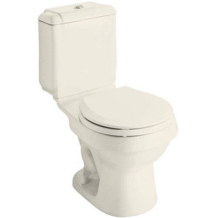 Sterling 402024-96 Rockton 1.6/0.8-GPF 12 inch Rough-In WaterSense Round Dual-Flush 2-Piece Standard Height Toilet, Biscuit, White