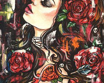 Papel satinado impresión pared arte impresión 11 x 14 - I tienen a ser más fuerte - tatuaje de pin up girl con calaveras y rosas lowbrow de regalo
