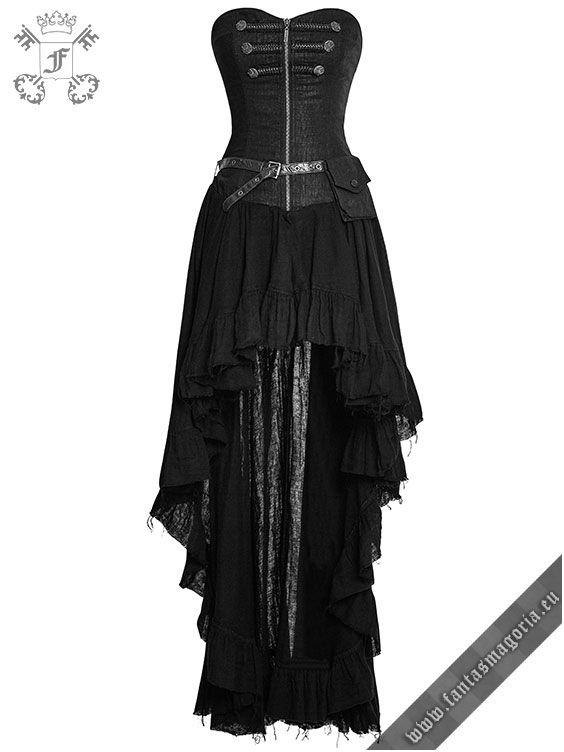 Q-311 Dryad - black long steampunk dress by Punk Rave   Gothic, Steampunk, Metal, Punk, Lolita, Fetish fashion style e-shop. Punk Rave, RQ-BL, Fantasmagoria clothing brands