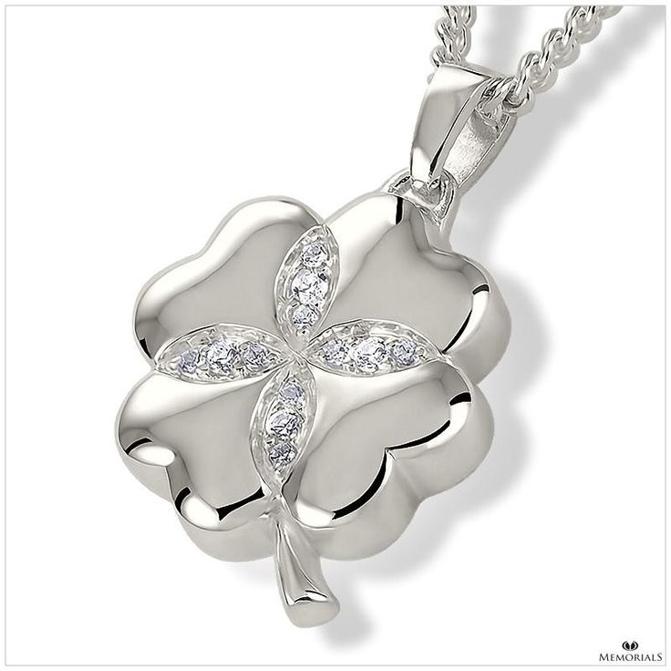 Crystal Clover Pendant Locket for Ashes