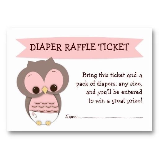 Awesome Pink Owl Baby Shower Diaper Raffle Ticket Insert