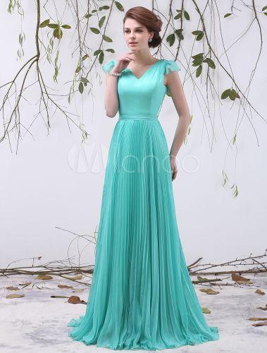 Vestido de damas de honor de chifón de color menta con volante fruncido - Milanoo.com