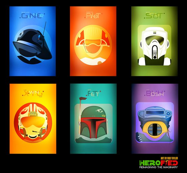 star wars prints set of herofied helm prints created by rob taylor two copies of each of the six prints for a total of 12 cards one set for framing