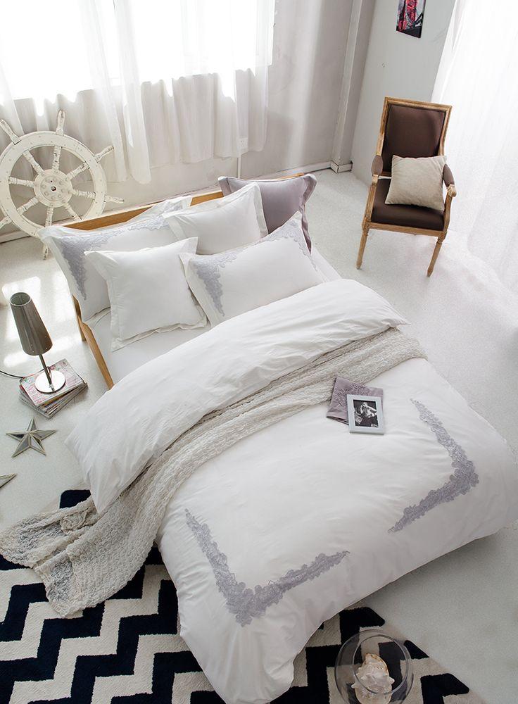 100 cotton white lace wedding bedding set king queen size 4pcs girls bed set duvet