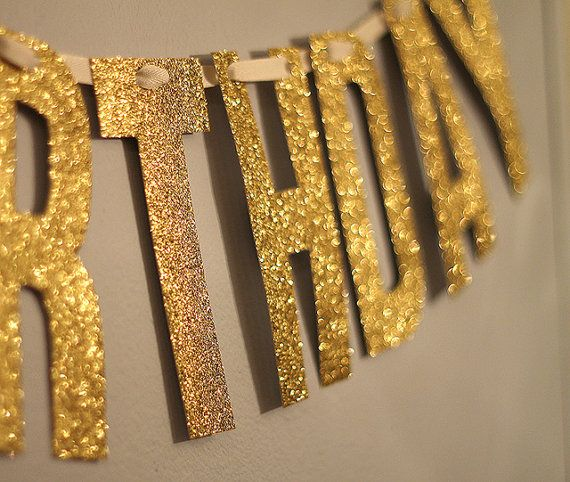Gold Glitter Happy Birthday Banner Garland By