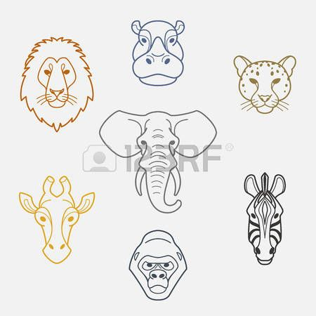 giraffe: Animaux africains à tête plate style.Colorful d'éléphant, le lion, le zèbre, gorille, girafe, l'hippopotame et jaguar.Vector icônes isolés. Illustration