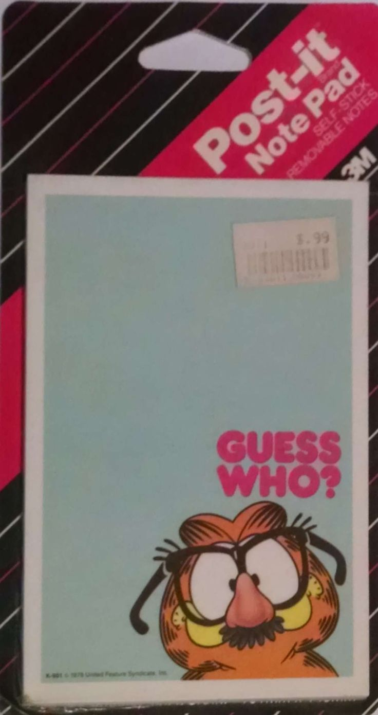 """1987 3M Creative Expression Products Post-It Note Pad Jim Davis Garfield """"Guess Who?"""" 4"""" x 5-7/8"""" by krazkollector on Etsy"""