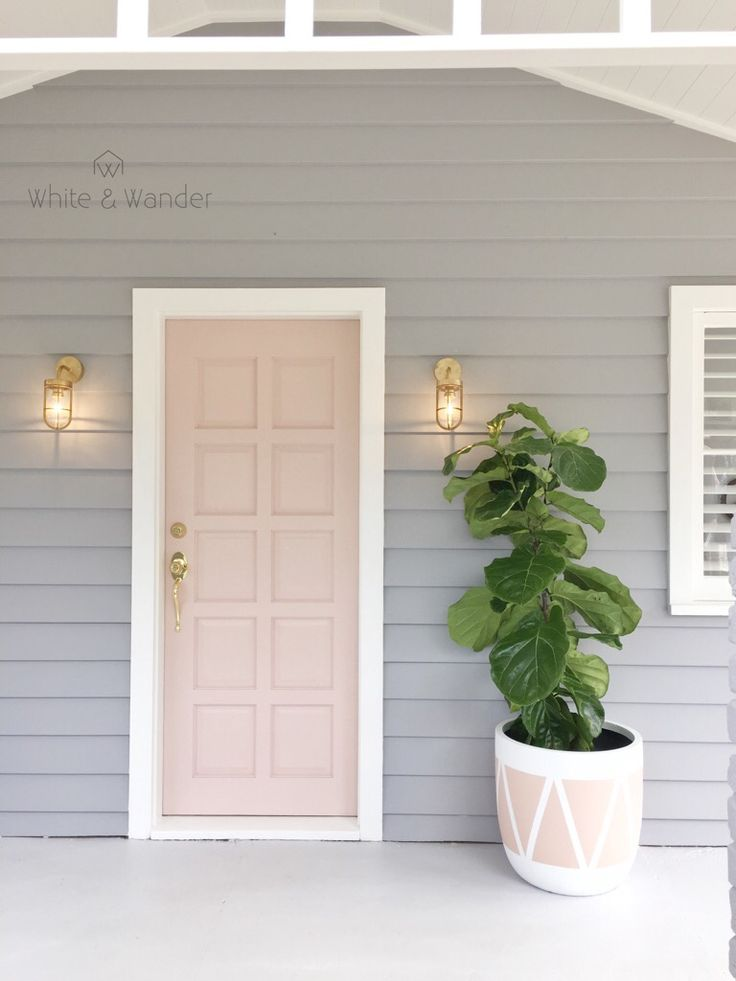 Blush door and matching plant pot. Can it get any better